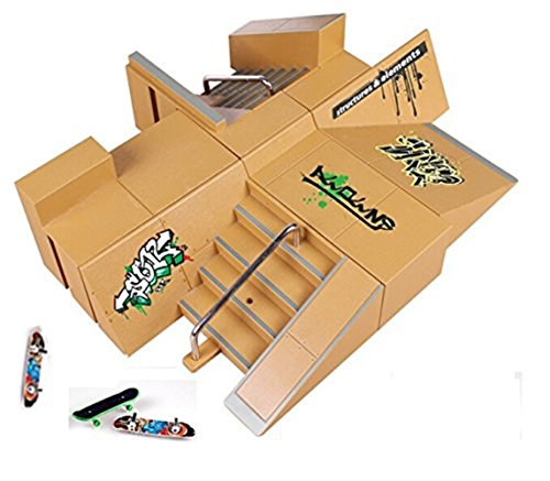 Kidsdream® 8pcs Skate Park Kit Ramp Parts for Tech Deck Fingerboard Mini Finger Skateboard Fingerboards Ultimate Parks with 3PCS Finger Boards ()