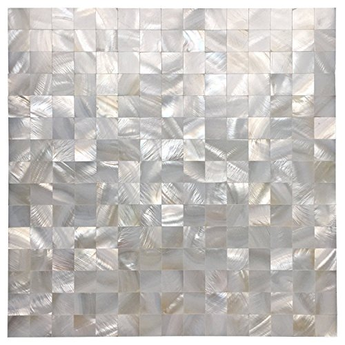Mother of Pearl Oyster White Natural Sea Shell Seamless Square Tile for Kitchen Backsplashes Pack of 5 Sheets