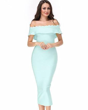 259da383 UONBOX Women's Fluted Mid-Calf Off Shoulder Party Bandage Dress with Back  Split (XS
