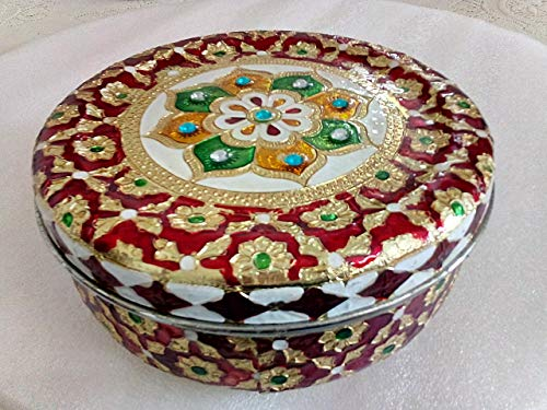 hpCreations Decorative Holiday Stainless Steel Round Meenakari Cookie Tin/Puri Dabba (Red) -