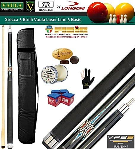 Longoni Vaula Laser pro Taco de billar 3 sin casillas 5 bolos con punta Vaula Shadow fibra de carbono con boquilla, rodillos y centros: Amazon.es: Deportes y aire libre