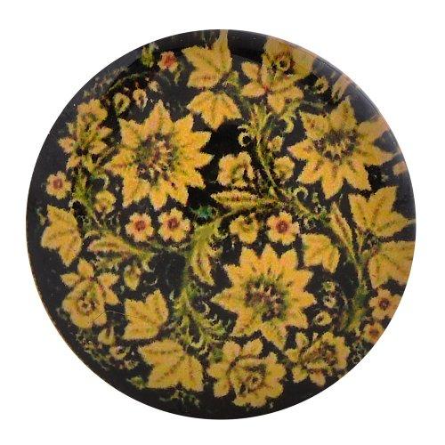 Morella click-button Bouton Pression En Verre Motif fleurs Jaune Noir