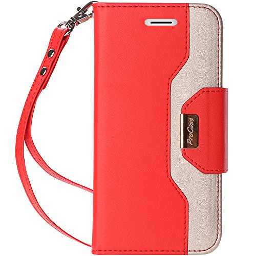 ProCase iPhone XS/iPhone X Wallet Case, Flip Kickstand Case with Card Slots Mirror Wristlet, Folding Stand Protective Cover for 5.8 inch Apple iPhone Xs (2018) / iPhone X (2017) -Red