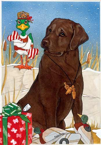 Chocolate Labrador Christmas Cards : 10 Holiday Cards with Red Envelopes - ADORABLE!