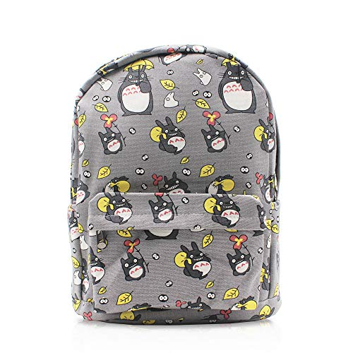 Finex My Neighbor Totoro Gray Canvas Japanese Comic Cartoon Casual Backpack with 15 inch Laptop Storage Compartment for College Student Daypack Travel Snack Sport Book Bag Gift