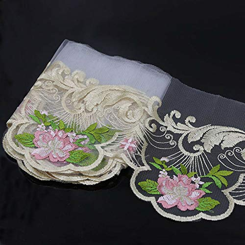 (2-3 Yds Flower Embroidered Mesh Lace Trim Bridal Ribbon Dress Sewing Decor Craft (Style - #2))