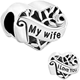 Sterling Silver New I Love You My Wife Heart Charms Sale Cheap Beads fit Pandora Charm Bracelet