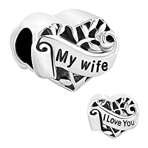 CharmSStory I Love You My Wife Heart Sterling Silver Beads Charm For Bracelets (Wife)