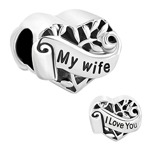 Best Gifts CharmSStory Sterling Silver I Love You My Wife Heart Charms Beads Charm For Bracelets