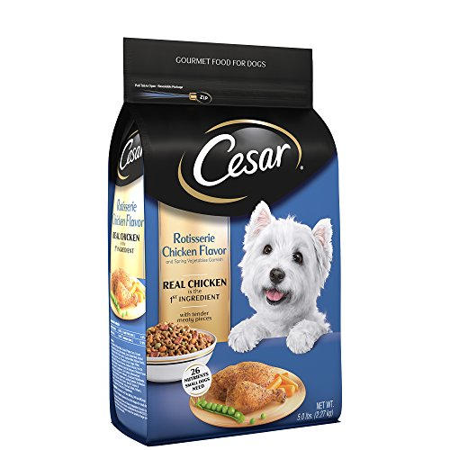- Cesar Small Breed Dry Dog Food Rotisserie Chicken Flavor With Spring Vegetables Garnish, 5 Lb. Bag