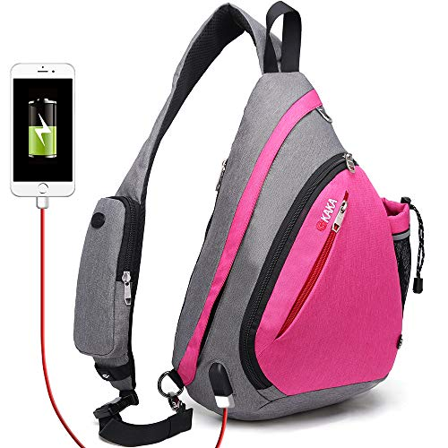 Sling Bag,Crossbody Backpack Rope Shoulder Bag Waterproof RFID Canvas Travel Multipurpose Daypack With USB Charging Port for Men Women (Rose)