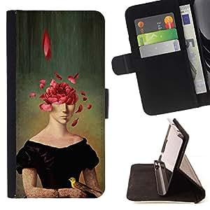 Momo Phone Case / Flip Funda de Cuero Case Cover - Pintura del arte del retrato de la cara Rose Pétalos Simbólico - Samsung Galaxy A3