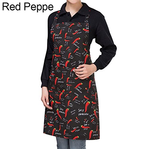(BYyushop Striped Plaid Long Man Women Waist Apron with Pocket Catering Chef Waiter Bar - Red Pepper)