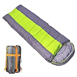 Sleeping bag, packable backpacking sleeping bags with ultralight lightweight, 2 bags spliced as a big double sleeping bag for outdoor travel, hiking, camping in all seasons (Green color right zipper) Review