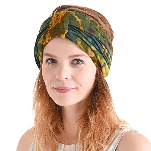 CHARM Hippie Turban Headwraps for Women - Boho Headbands for Summer Wrap Knot Hair Band Head Scarf 70s 60s C -