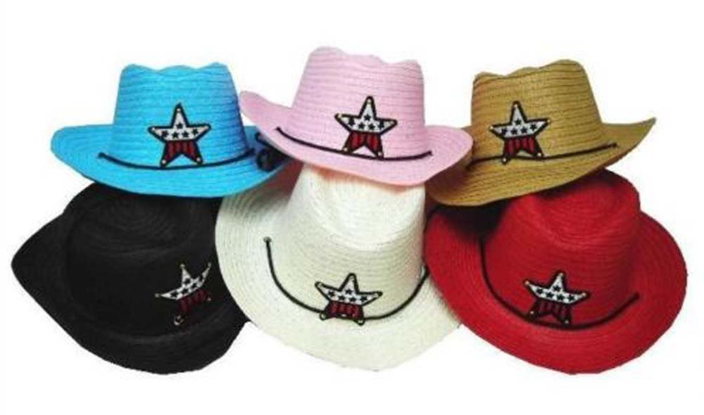 12 Bulk Lot Assorted Colors Kids Straw Western Cowboy / Cowgirl Hat with Americian Flag Star Emblem Patch -Childrens Size