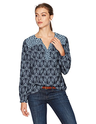 (NYDJ Women's Print Mix Peasant TOP, Garden Batik Forever Blue, S)