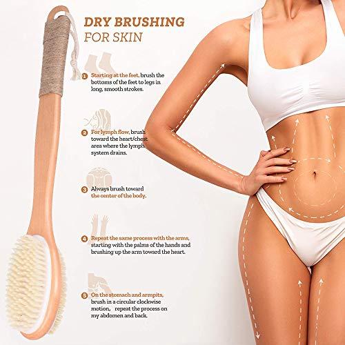 Faraone4w Spazzola per il corpo con setole naturali esfolianti per il massaggio
