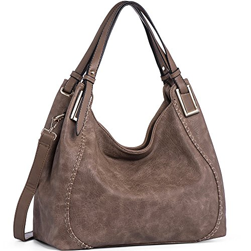 JOYSON Women Handbags PU Leather Shoulder Bags Top-Handle Satchel Tote Bags Purse Grey Brown by JOYSON