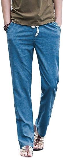 WAWAYA メンズ ストレート レッグ プレーン コットン リネン ドローストリング ビーチ カジュアル ジョガー パンツ