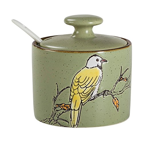 - Ceramics Retro Bird Sugar Bowl with Lid and Spoon Green