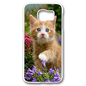 Samsung galaxy S6 Transparent Case, Cute Fancy Cat and Flowers Pattern Hard Back Case Cover Fit for iphone6(Animal cat)