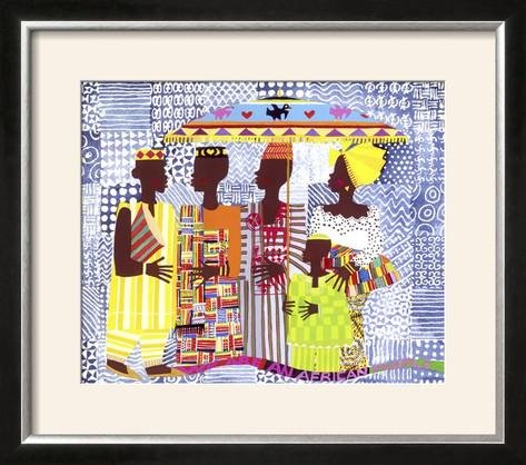 Honeywood Finish (ArtEdge We are African People by Varnette Honeywood, Size 26W x 23H, Frame is Wood with a Gesso finish)