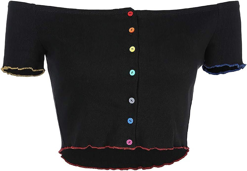 SansoiSan Women Off Shoulder Buttons Crop Tops Harajuku T-Shirts Elastic Tank Top Tees