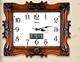 SUNQIAN-Mute living room wall clock, quartz clock watch simple thermometer,b