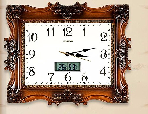 SUNQIAN-Mute living room wall clock, quartz clock watch simple thermometer,b by SUNQIAN
