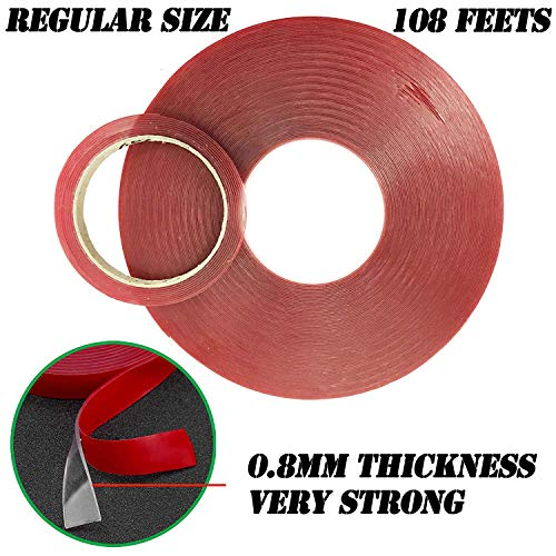 LLP Double Sided Tape, Acrylic Mounting Tape 10mm x 108 Feet Weatherproof for Outdoor & Indoor, Removable & Residue-Free, 0.8mm Thick Strong Adhesive