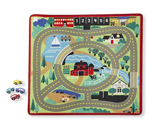 Melissa & Doug Round the Town Road Rug and Car Activity Play Set With 4 Wooden Cars (39 x 36 (Holiday Car Costume)