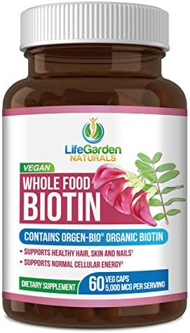 Whole Food Biotin Supplement - Contains Certified Organic Plant Based Biotin from Sesbania Agati Trees - by LifeGarden Naturals. May Support Healthy Hair, Skin and Nails. 60 Non GMO Veggie Capsules.