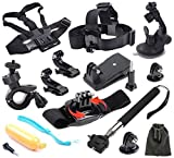 Smart Freedom 12-in-1 Essential Kit for GoPro HERO 4 3+ Chest Harness Strap Head Belt Strap - Car Suction Mount Floating Bobber Handle Grip Extension Pole Tripod Adapter Surface J-Hook Clip Mount Bike Mount Rotary Wrist Mount Pouch