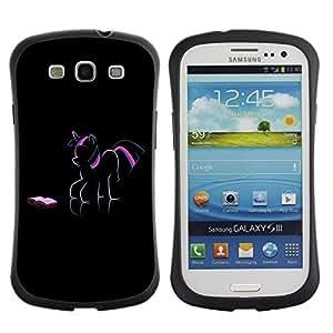 LASTONE PHONE CASE / Suave Silicona Caso Carcasa de Caucho Funda para Samsung Galaxy S3 I9300 / Pony Unicorn Art Drawing Pink Purple Fairytale
