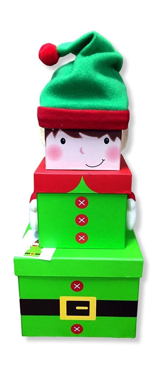 Elf Stacking Christmas Box Set Card and Party Store