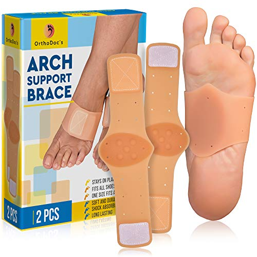 (OrthoDoc's Foot Arch Support Brace for Flat Feet Men & Women - Plantar Fasciitis Sleeve Pair - Planters Fasciitis Massager - Foot Compression Wrap - Aids High Arch, Fallen Arch, Foot Heel Pain)