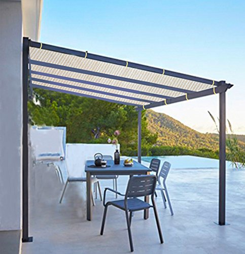 Shatex Shade Panel Block 90% of UV Rays with Ready-tie up Ribbon for Pergola/Greenhouses/Carport/Porch 12x20ft Tan