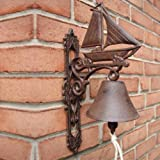 Sailboat Bell Rustic Nautical Clipper Ship Cast Iron Tiki Bar Beach Decor