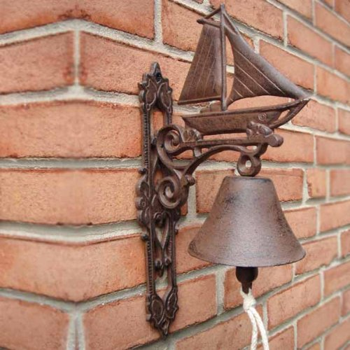 Sailboat Bell Rustic Nautical Clipper Ship Cast Iron Tiki Bar Beach Decor by Moby Dick