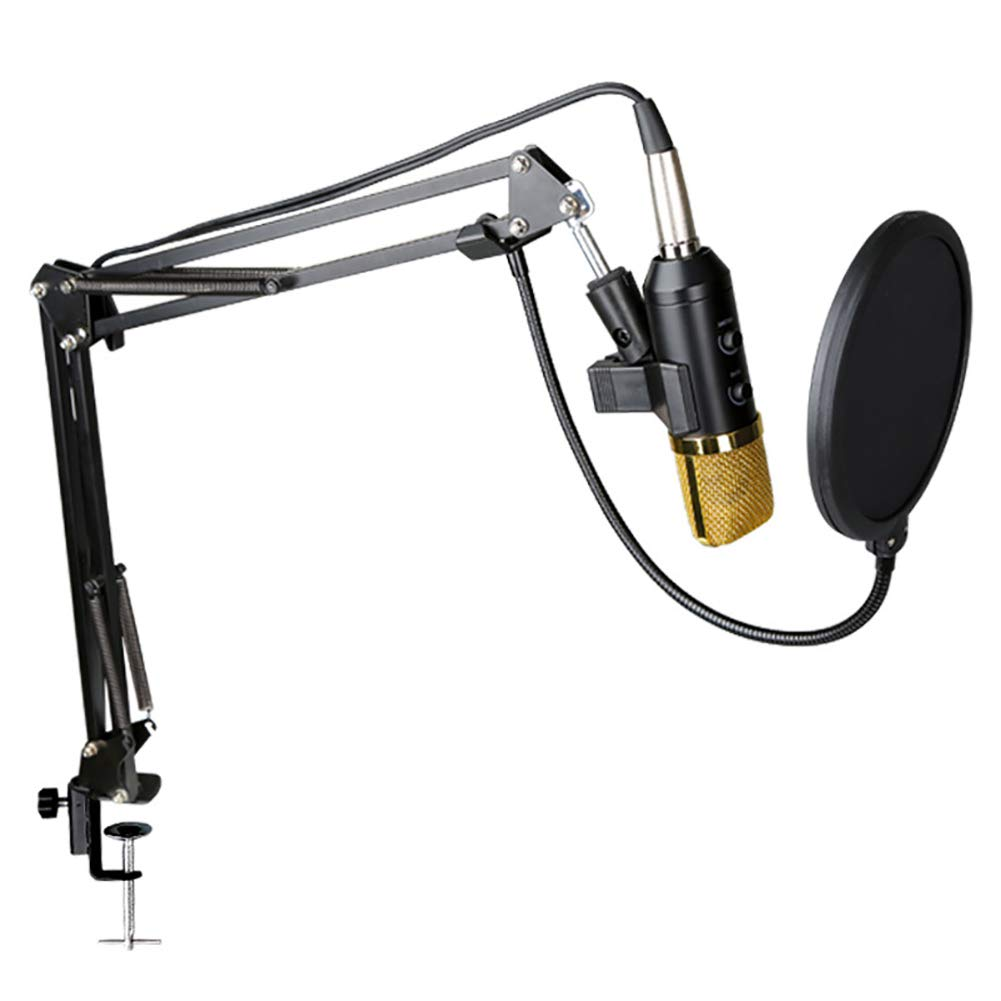 MSlongzc Professional Studio Condenser Microphone, Adjustable Recording Microphone Suspension Scissor Arm Stand with Shock Mount and Mounting Clamp Kit for PC, Laptop, Smartphone - Gaming, Singing