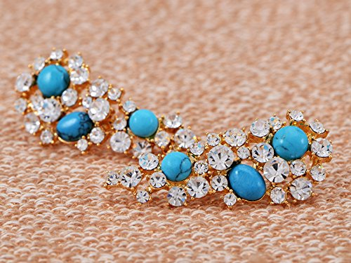 Tribal cristal Swarovski Strass Cluster collier bleu turquoise – Boucle d'oreille
