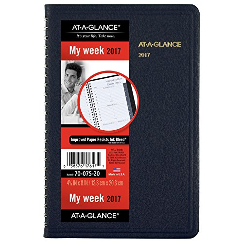 "AT-A-GLANCE Weekly Appointment Book / Planner 2017, 4-7/8 x 8"", Blue (70-075-20)"