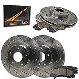 Max Brakes Front + Rear Premium Slotted Drilled Rotors w/Ceramic Pads Performance Brake Kit KT031733 | Fits: 2013 13 2014 14 2015 15 2016 16 2017 17 Ram 1500
