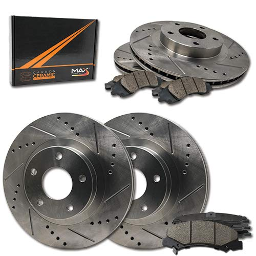Max Brakes Premium Slotted|Drilled Rotors w/Ceramic Brake Pads Front + Rear Performance Brake Kit KT090133 [Fits:2009-2010 Lincoln MKS | 2010 MKT | 2009 Ford Flex] Max Advanced Brakes