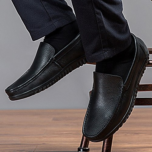 CFP 8525 Mens Leather Loafer Casual Lace Up No Slip Long Wear Fashion Wedding Bussiness Shoes Black UK Size 7.5 JIq9exTYeD