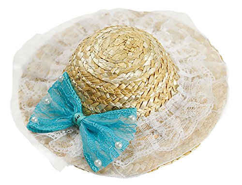 MaruPet Straw Hat Dog Cute Funny Sombrero Costume Handcrafted Grass Classic Farmer Visor Hat with Adjustable Chin Strap for Small, Extra Small Dog Teddy, Chihuahua, Shih Tzu, Yorkshire (Daily Costumes Pic)