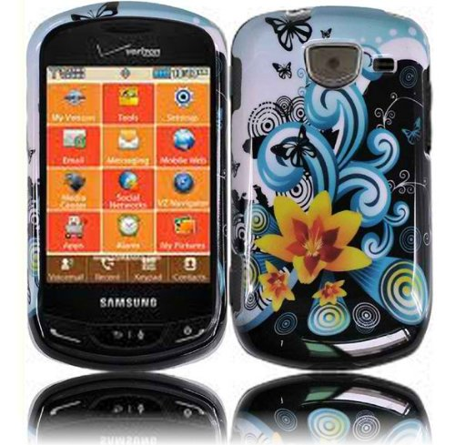 Blue Splashing Flower Snap on Protective Cover Case for Samsung BrightSide u380 + Microfiber Pouch Bag - Samsung Brightside Case Blue