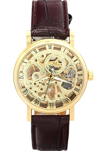 ShoppeWatch Mens Mechanical Skeleton Watch Hand Wind Up Gold Tone Dial Brown Leather Strap MW-06B