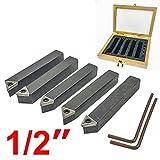 Hfs (R) 5 Pieces 1/2'' Mini Lathe INDEXABLE Carbide Insert Tool BIT Set